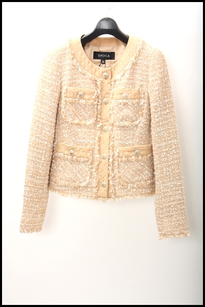 EPOCA ノーカラー羊毛ツイードジャケット